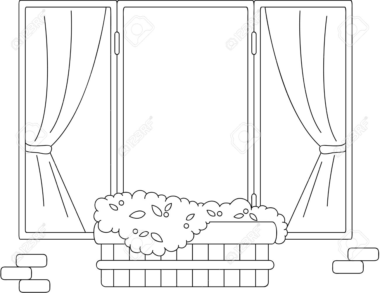 Window With Flower Pots And Curtains Coloring Book Vector