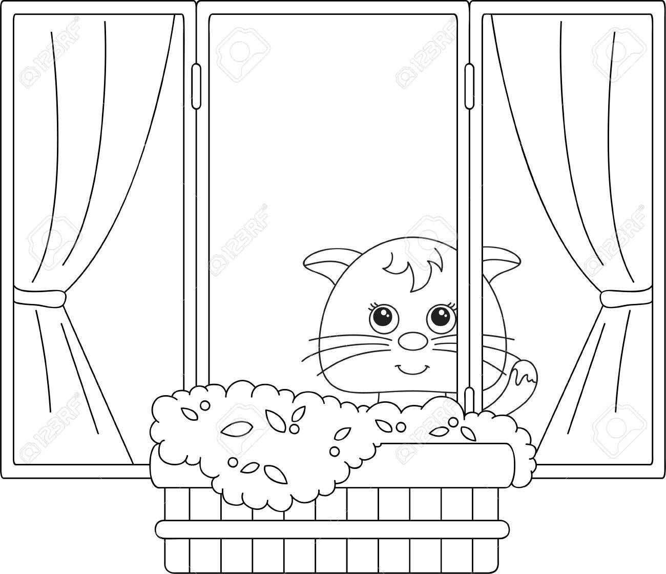 Cat Sitting On The Window With Flower Pots And Curtains Coloring Book Vector Illustration