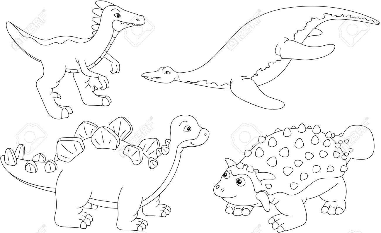Ensemble De Diplodocus Tyrannosaures Ptérodactyle Et Triceratops