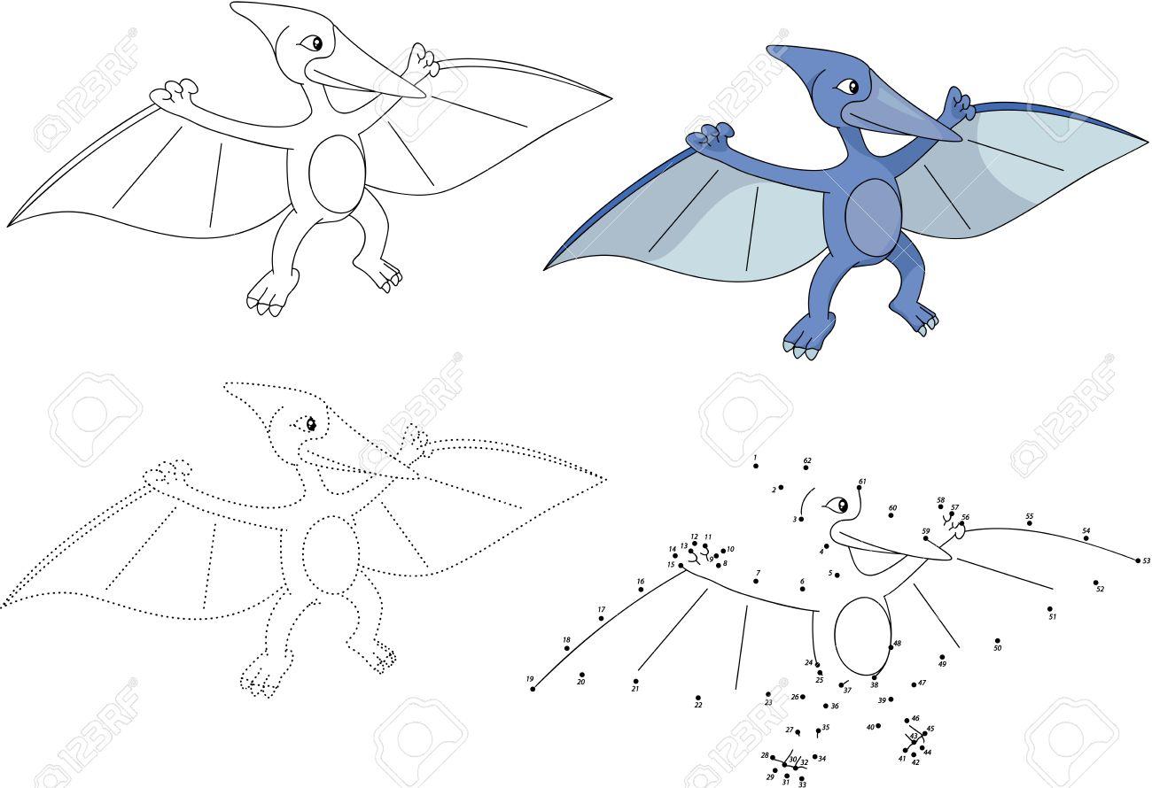 Pterodáctilo De Dibujos Animados. Punto Para Puntear Juego Educativo ...