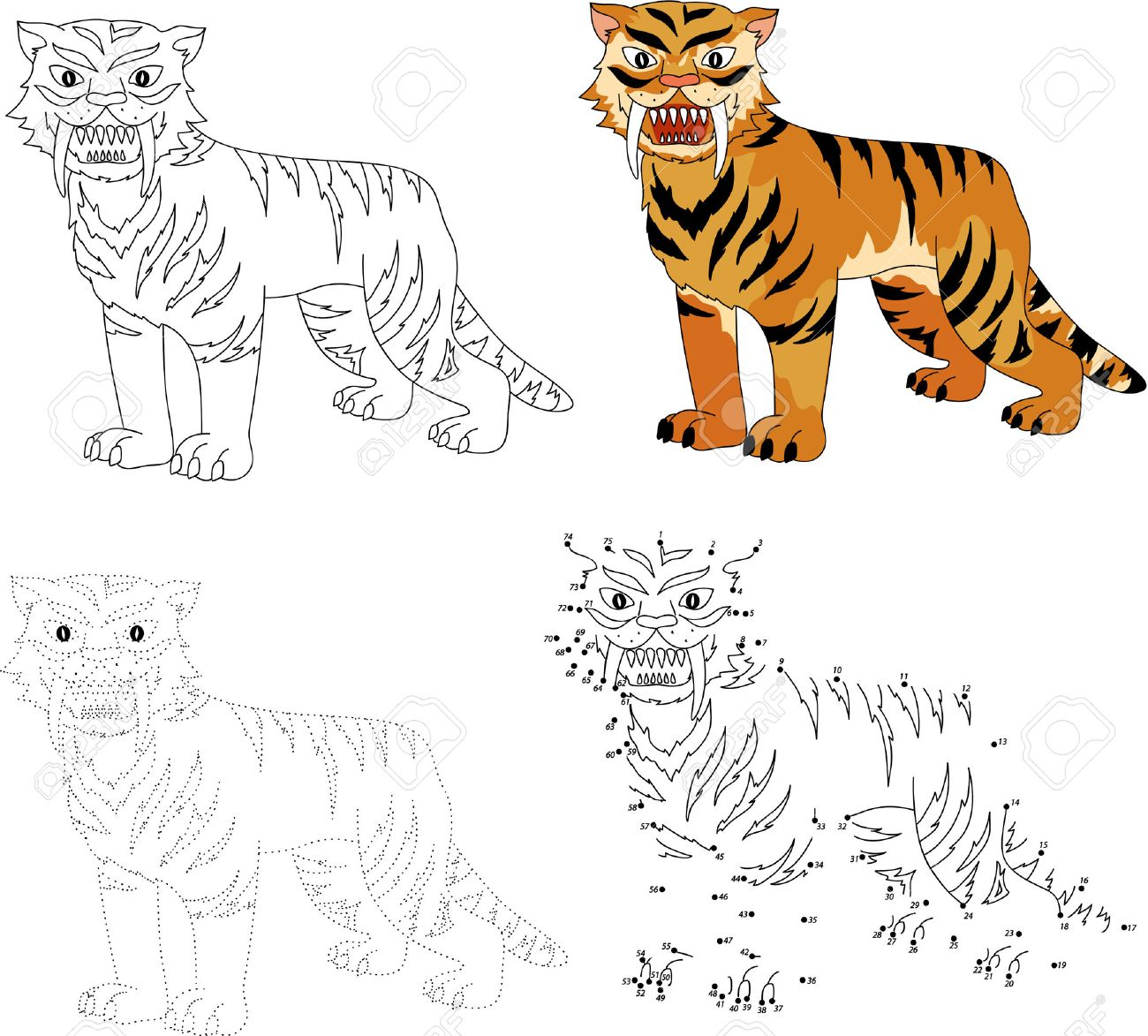 cartoon saber toothed tiger dot to dot educational game for