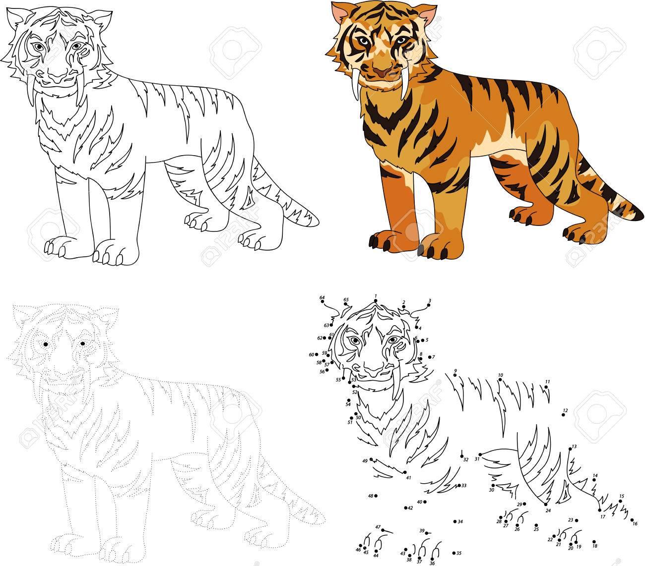 Cartoon Dientes De Sable Tigre. Punto Para Puntear Juego Educativo ...