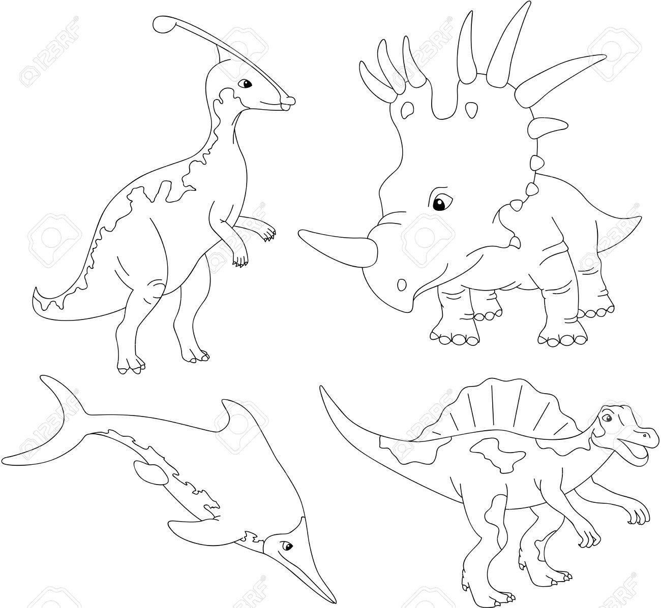 Ensemble De Diplodocus Tyrannosaure Ptérodactyle Et Tricératops