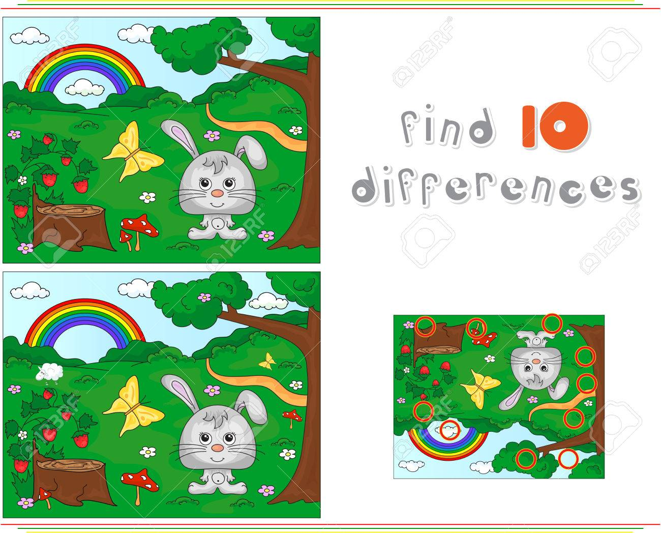 Color By Number Educational Game For Kids. Forest Glade With ...