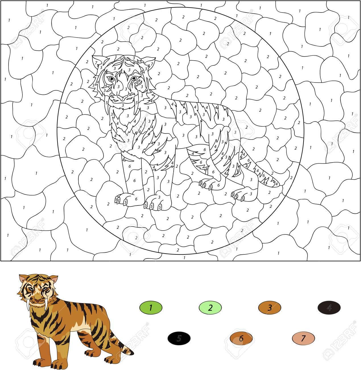 Color Por El Número De Juegos Educativos Para Los Niños. De Dibujos ...