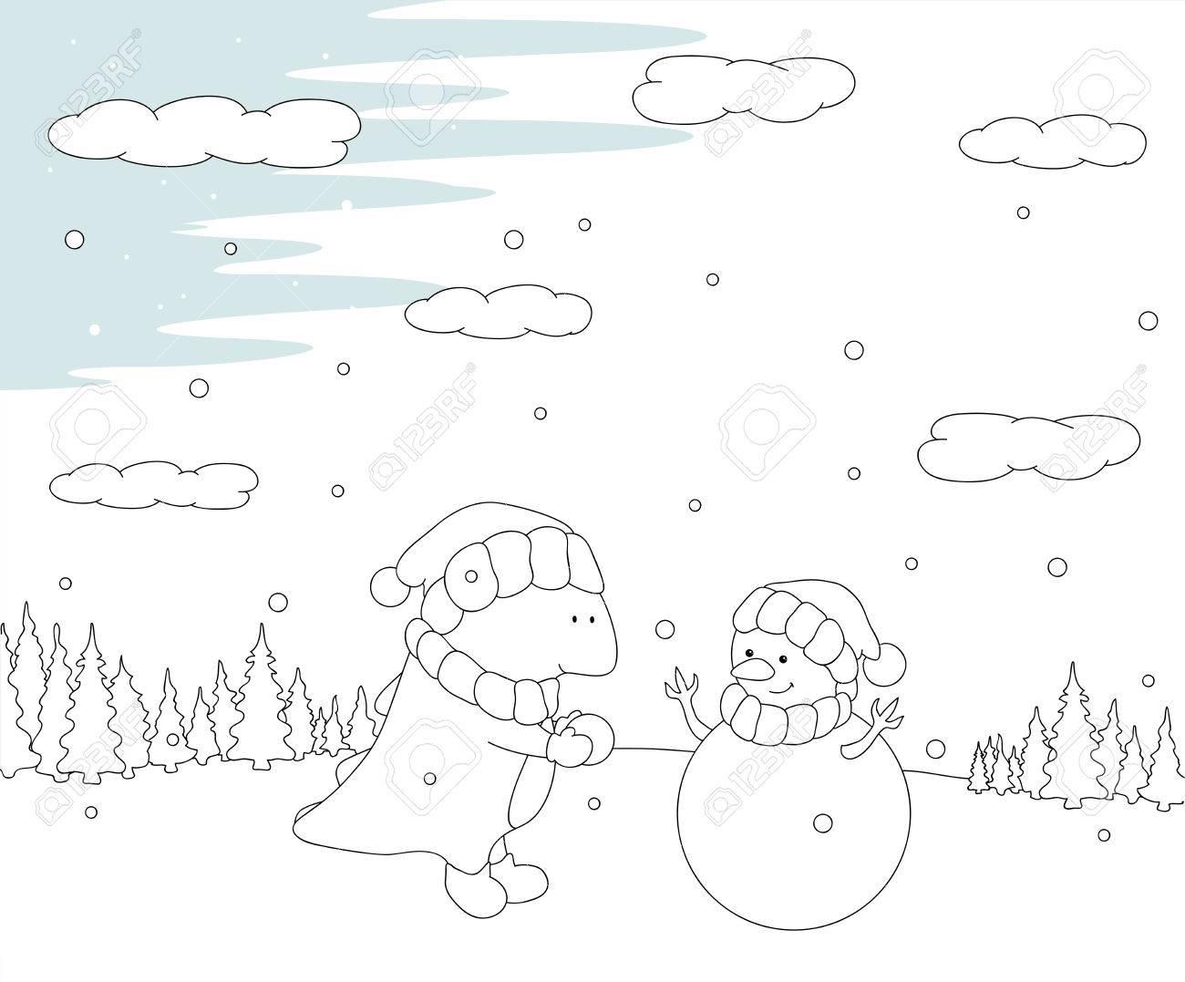 Coloriage Rennes Bonhomme De Neige.Dragon Chubby Mignon Sculpte Bonhomme De Neige Dans Une Foret Enneigee Carte Postale De Noel Vector Illustration Livre De Coloriage