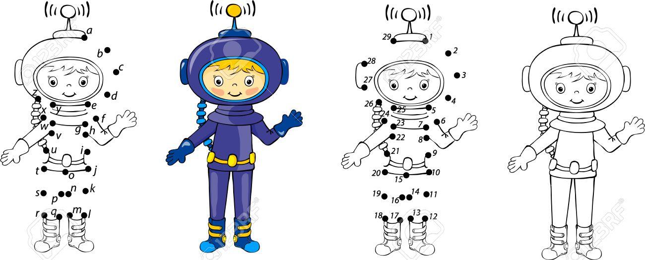 Astronauta De Dibujos Animados. Ilustración Del Vector. Colorear Y ...