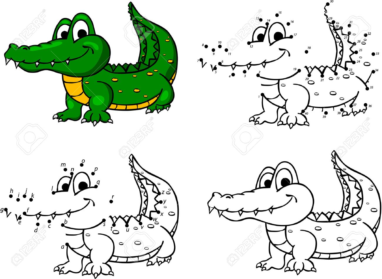 cartoon crocodile vector illustration coloring and dot to dot