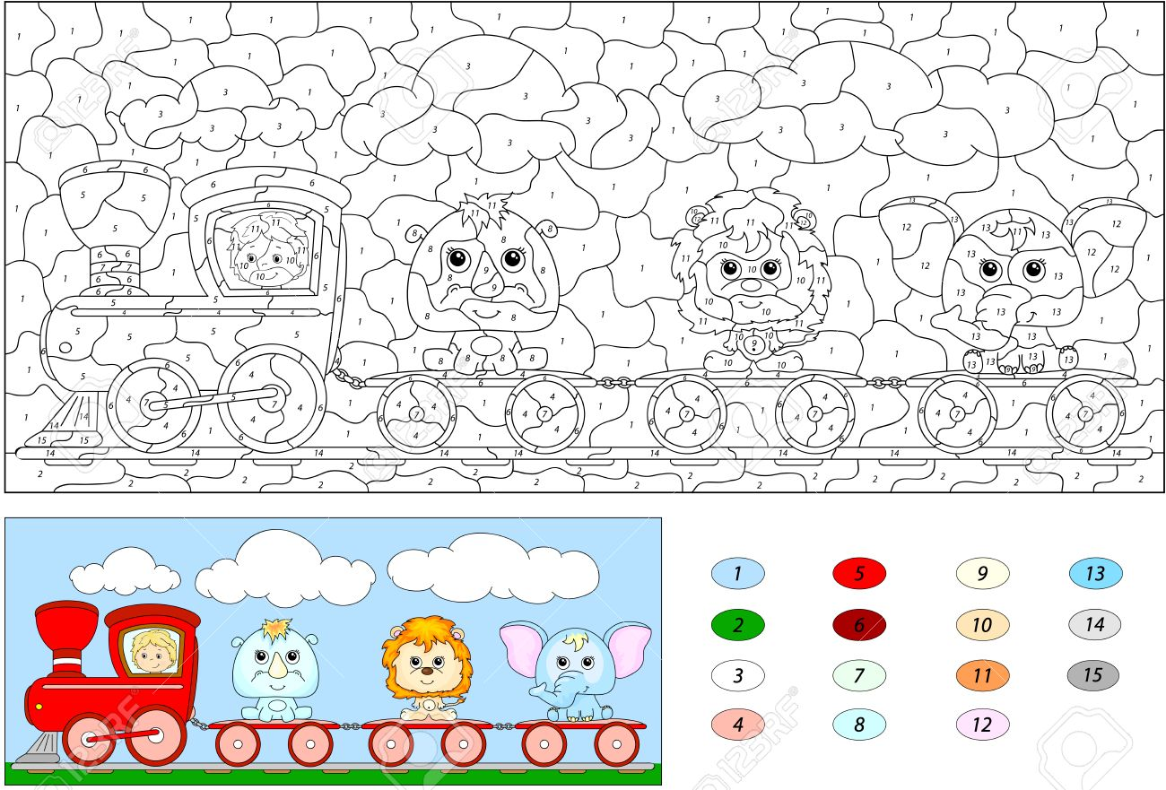 Game color by numbers - Color By Number Educational Game For Kids Funny Cartoon Train With Lion Elephant And