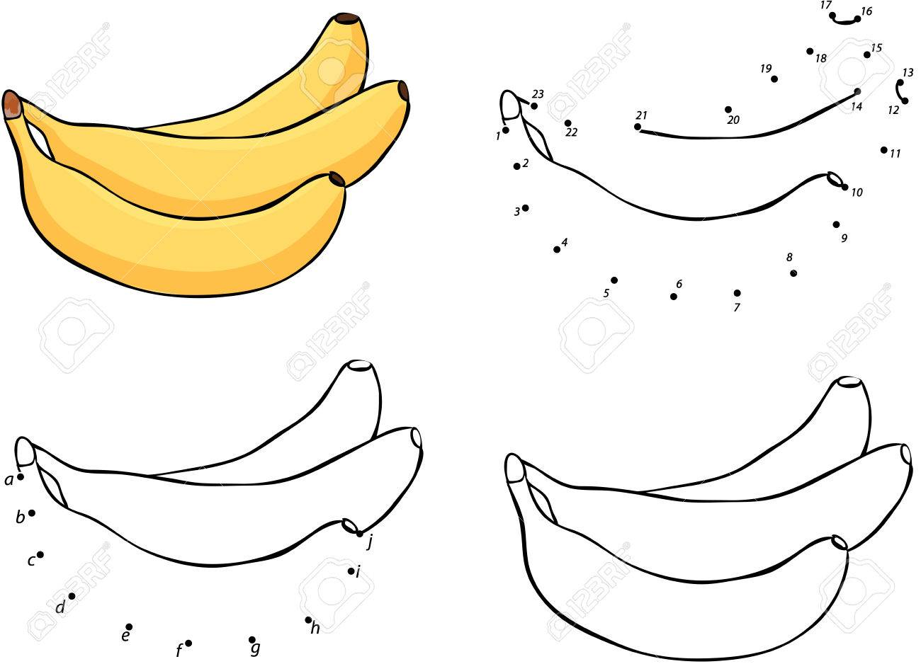 Drei Comic-gelbe Bananen. Vektor-Illustration. Färbung Und Punkt Zu ...