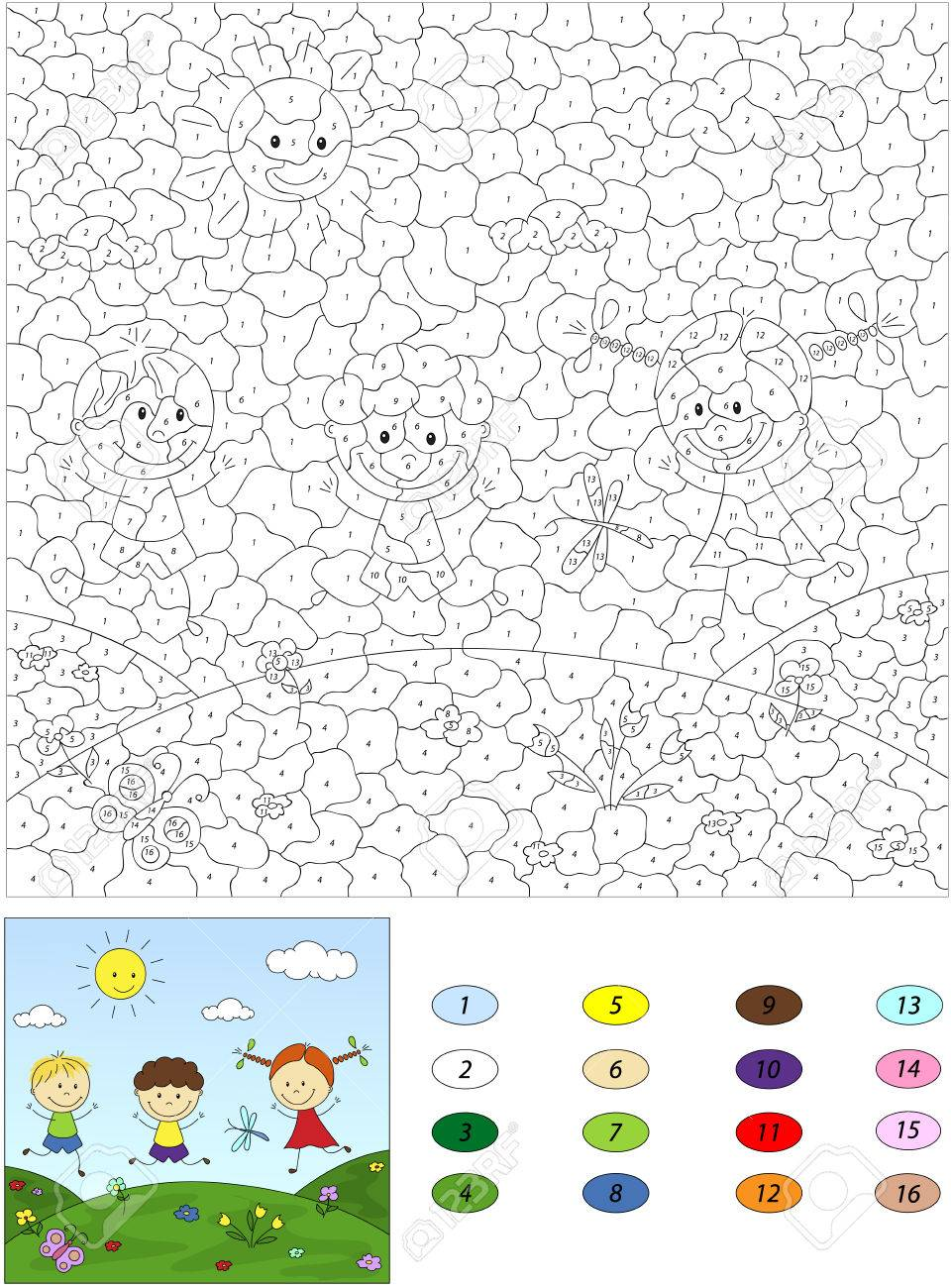 Color By Number Educational Game For Kids. Two Boys And A Girl ...