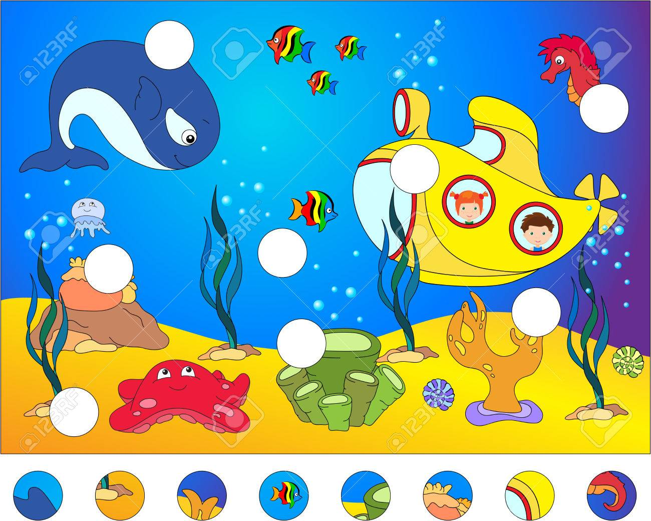 Unterwasserwelt Und Unterwasserwelt: Das Puzzle Vervollständigen Und ...