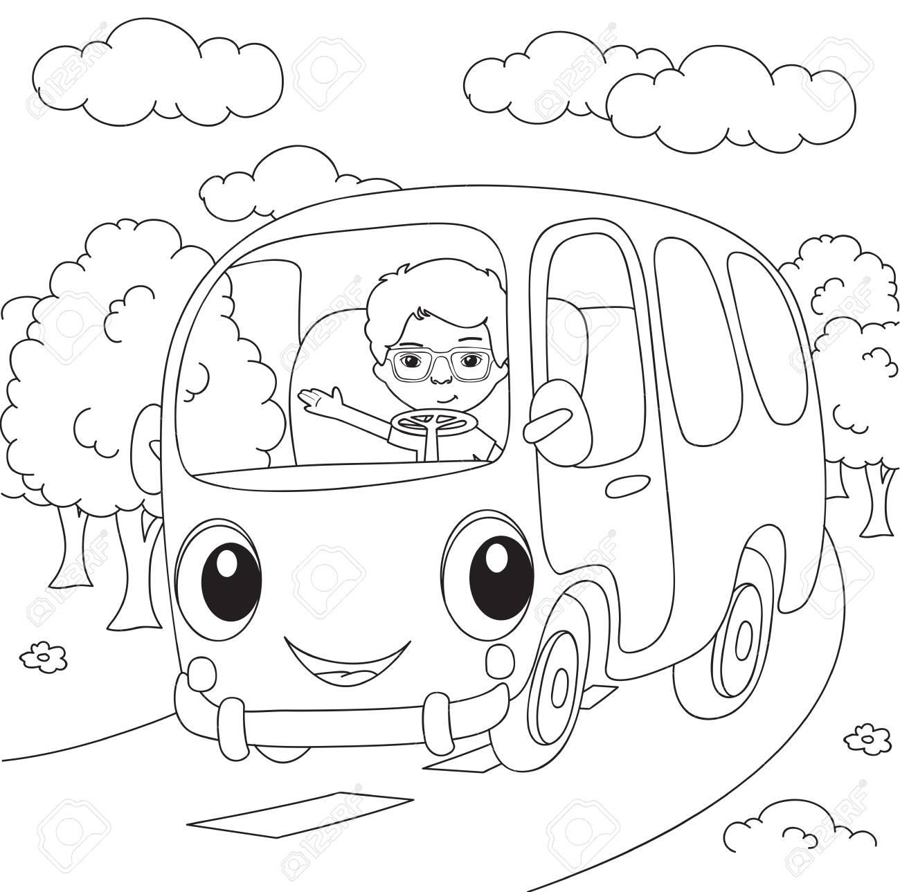 バスを漫画しますベクトルの図塗り絵のイラスト素材ベクタ Image