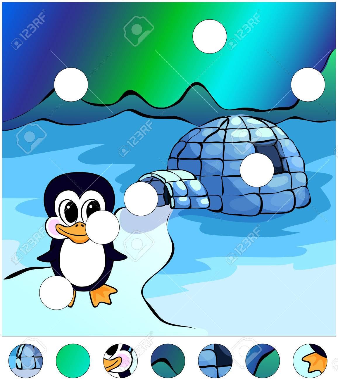 Pinguin In Der Nähe Des Iglu Und Nordlichter Am Himmel. Das Puzzle ...