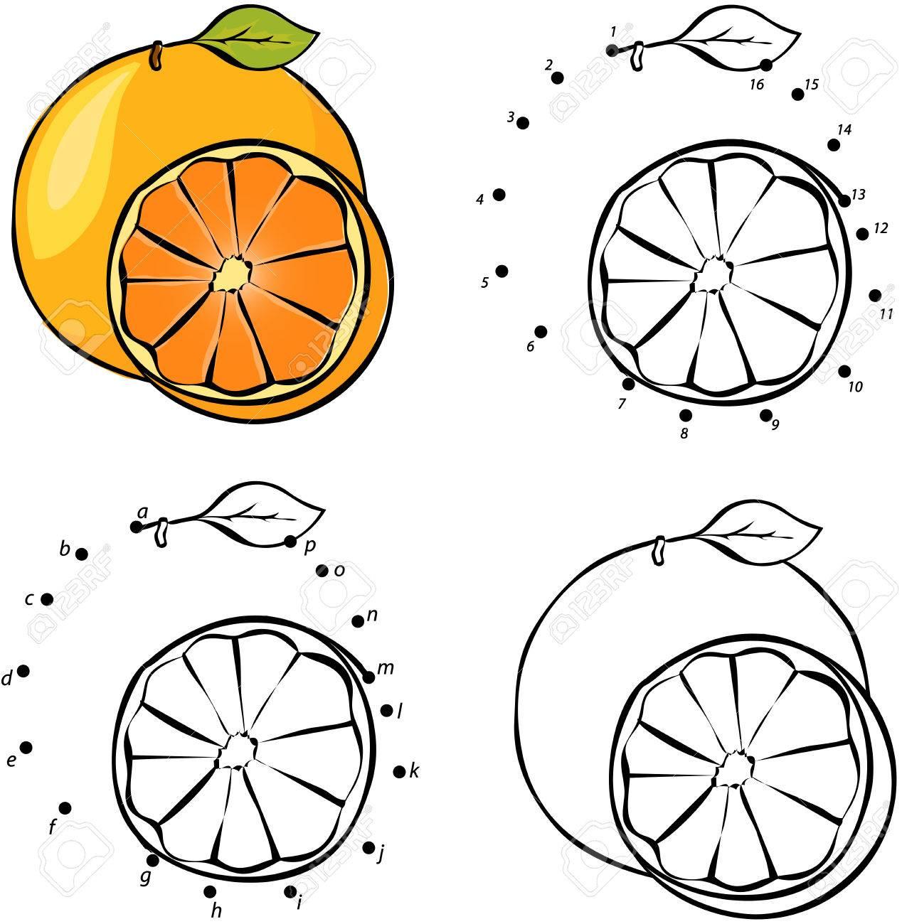 Naranja De Dibujos Animados Ilustración Vectorial Juego Educativo