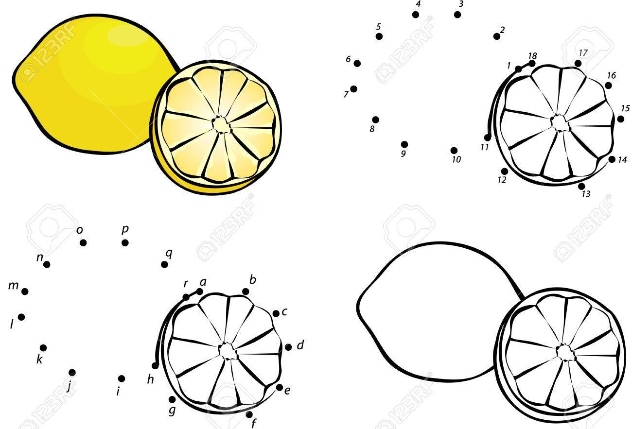 Limón De Dibujos Animados Ilustración Del Vector Colorear Y Punto