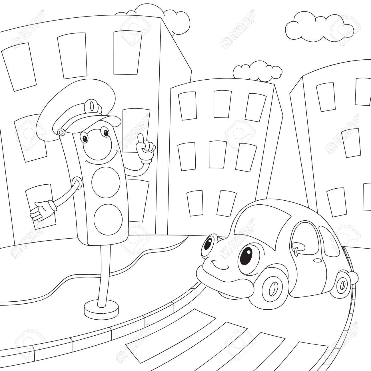 Dibujos Animados De Coches Y Semáforos. Libro De Colorante Para Los ...
