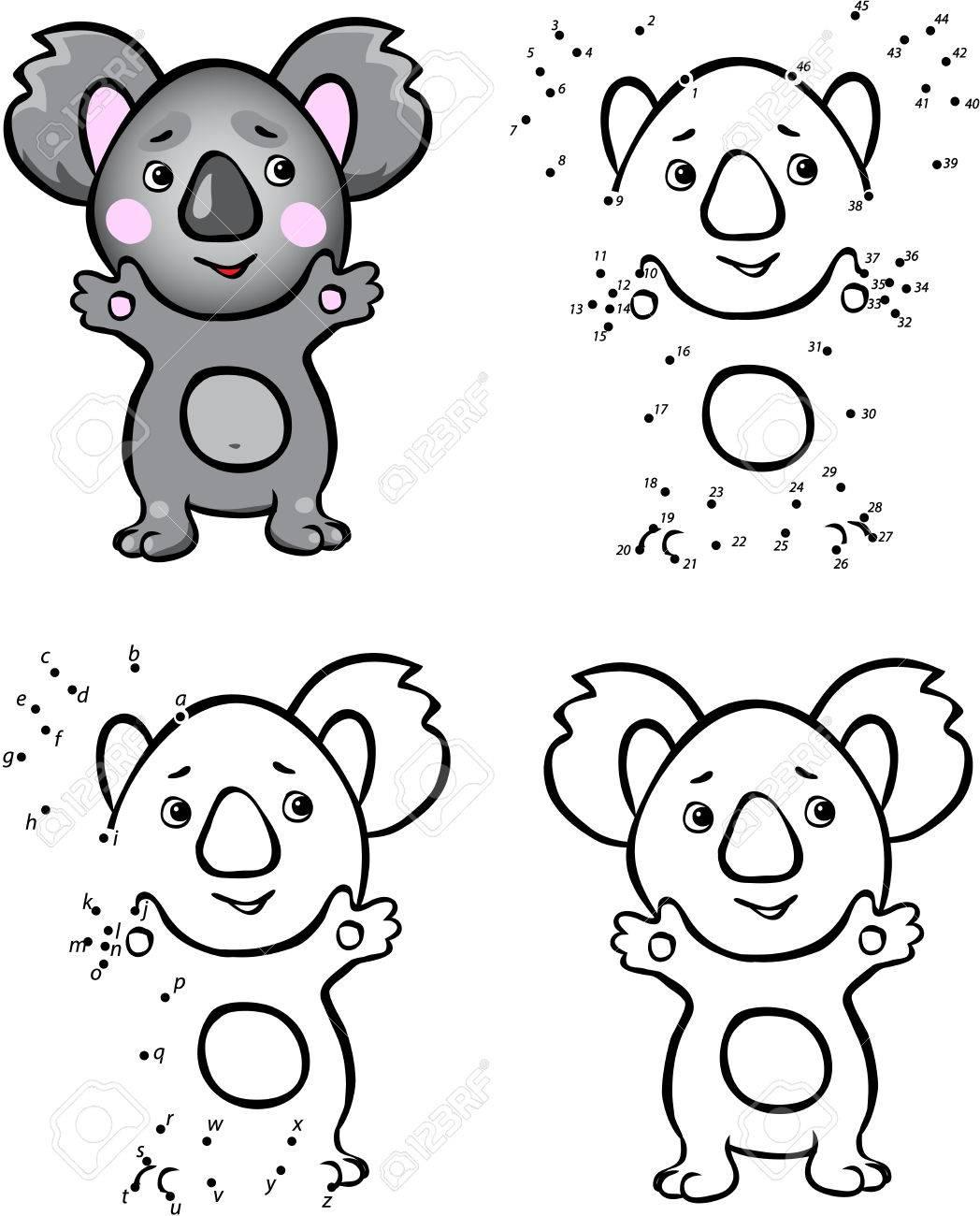 Koala De Dibujos Animados Ilustracion Del Vector Colorear Y