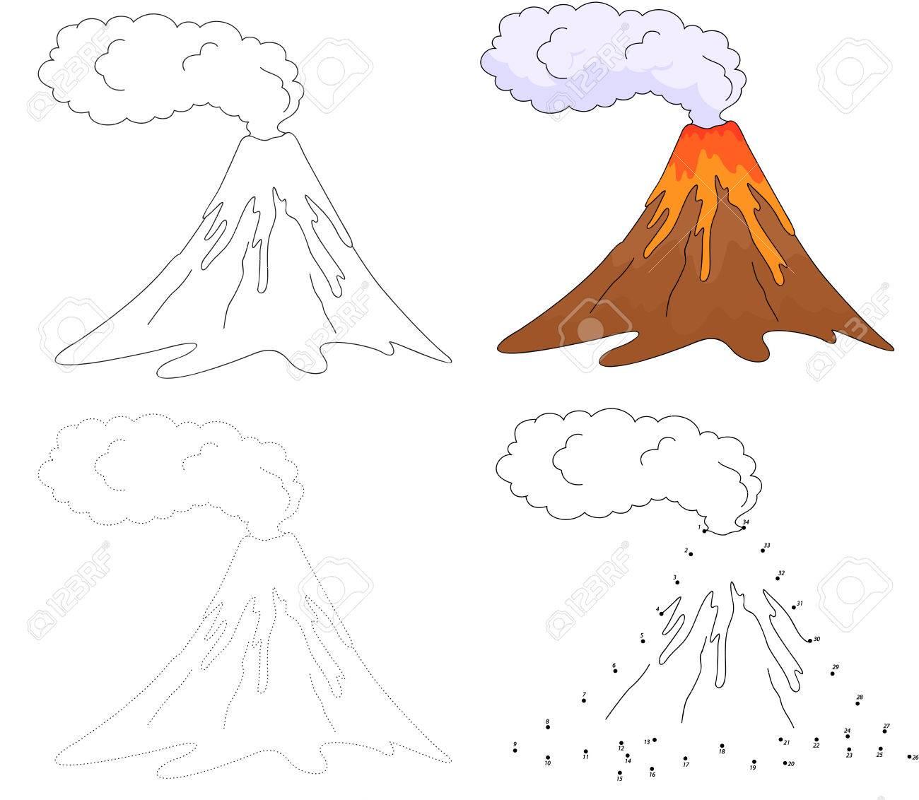 De Dibujos Animados En Erupción Volcán Punto A Punto Juego