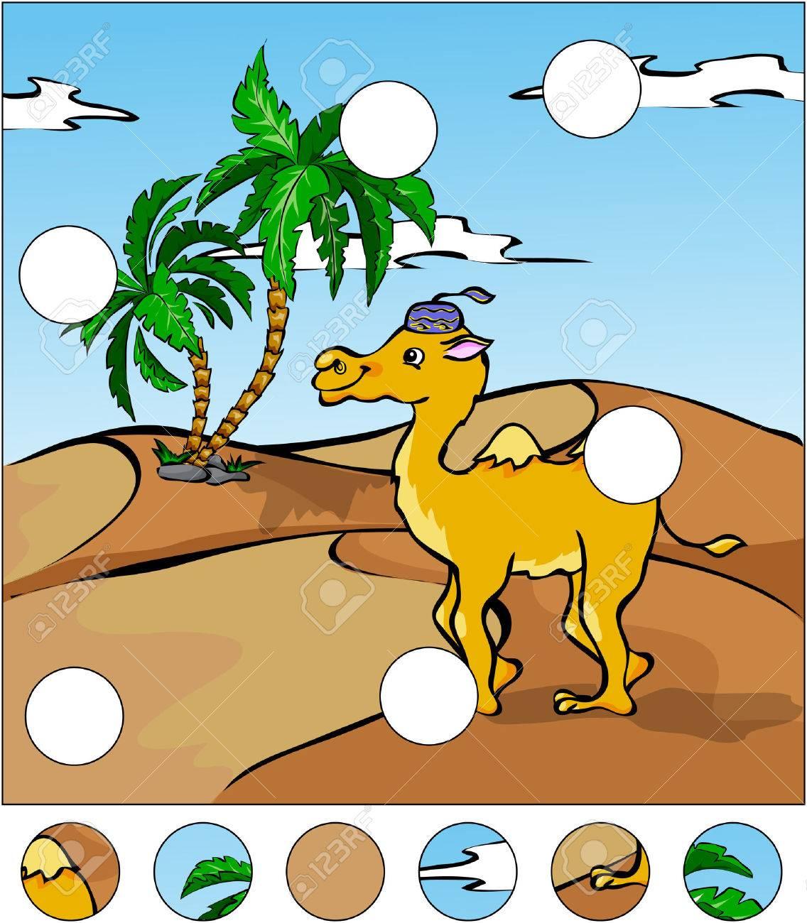 Cartoon Kamel In Der Wüste. Das Puzzle Vervollständigen Und Die ...