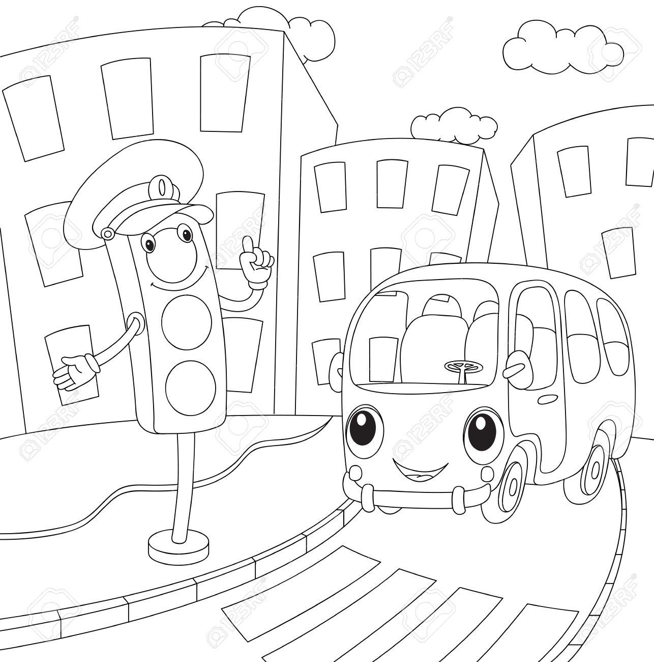 漫画バスおよびトラフィックが点灯します子供のための塗り絵ベクトル