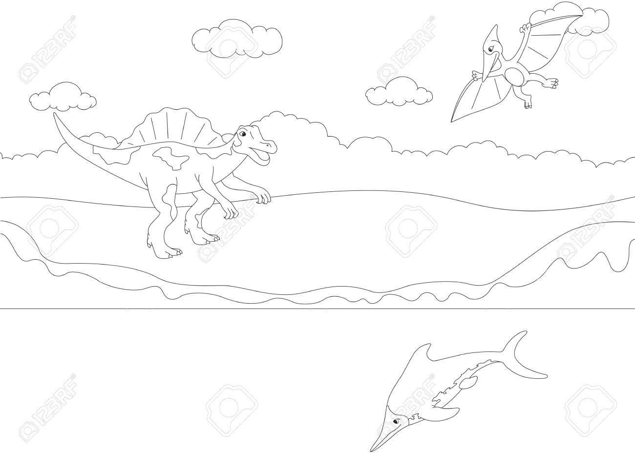 Divertido Lindo Pterodáctilo, Ictiosaurio Y Spinosaurus. Juego ...