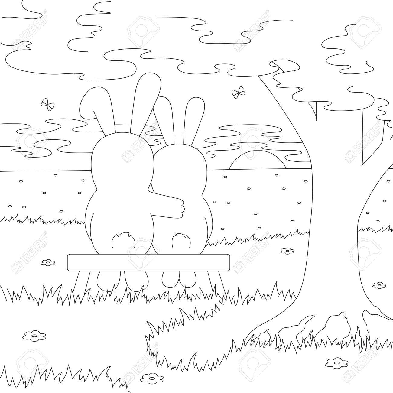 A Couple Of Hares On The Bench Admire The Sunset. Coloring Book ...