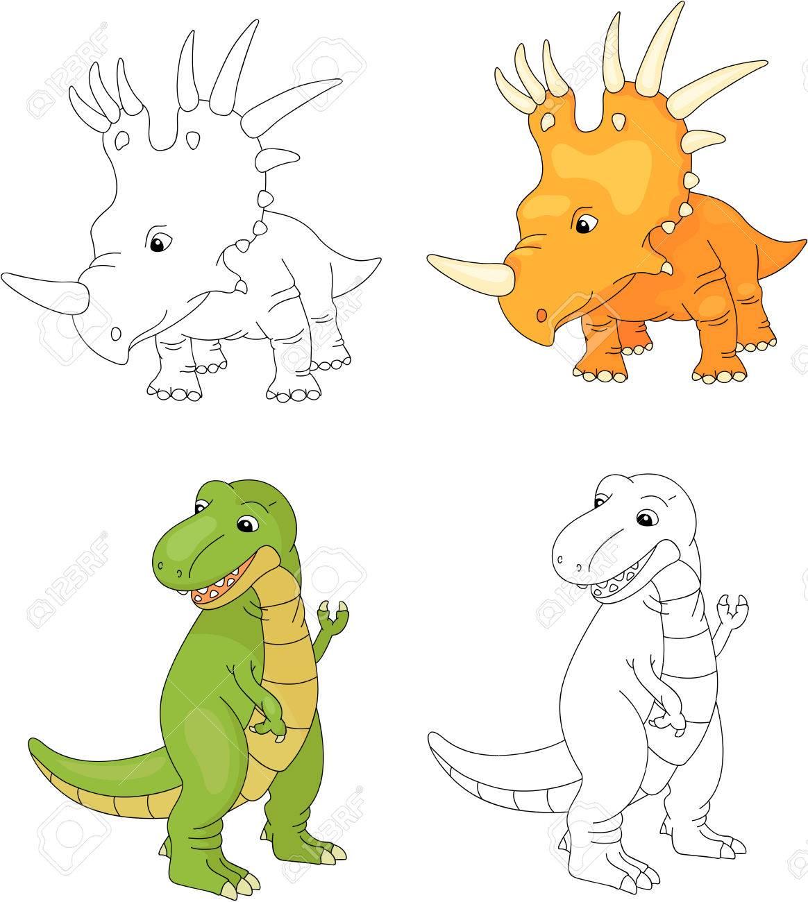 Tiranosaurio Lindo Divertido Y Styracosaurus. Juego Educativo Para ...