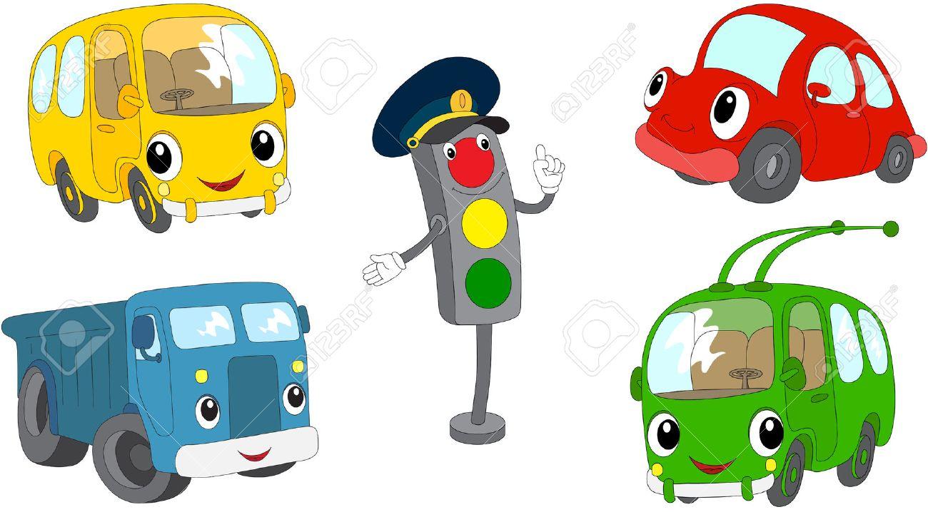 Set of cartoon bus, car, lorry, trolleybus and traffic lights. Vector illustration - 50615339
