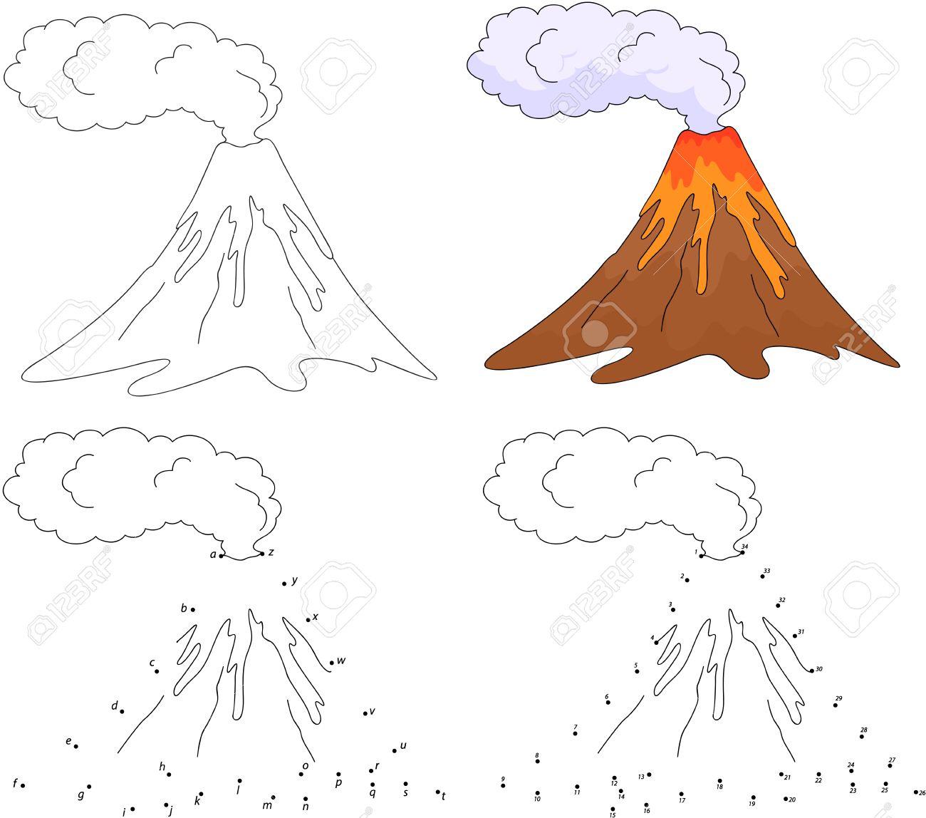 De Dibujos Animados En Erupción Volcán Ilustración Del Vector Colorear Y Punto A Punto Juego Educativo Para Niños