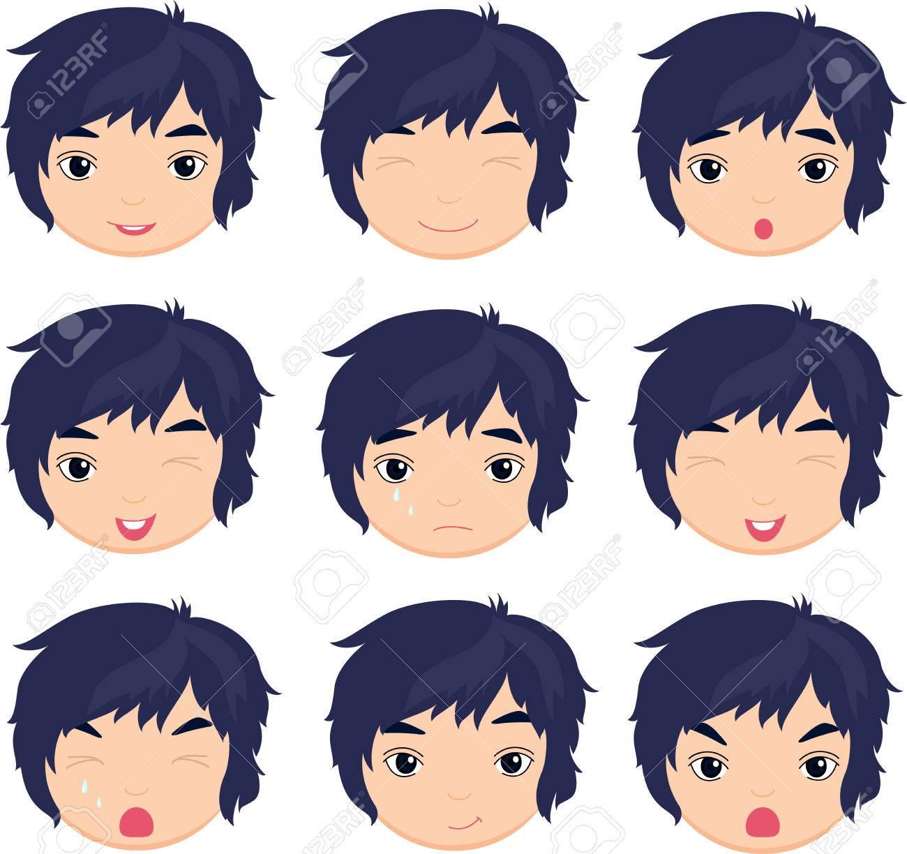 Anime Junge Emotion Freude Uberraschung Angst Trauer Weinen