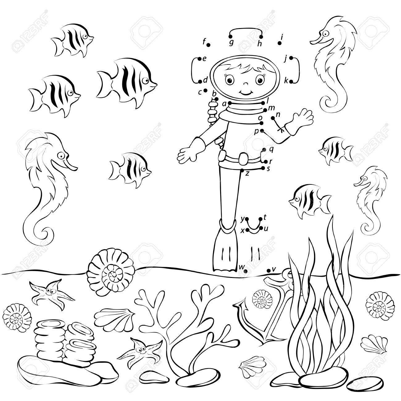 Plongeur Drôle De Bande Dessinée Dans Locéan Vector Illustration