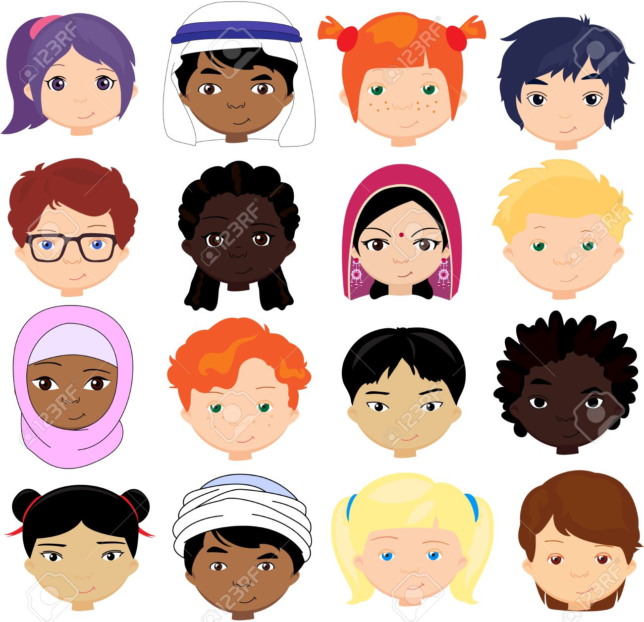 Boys and girls of different nationalities. Multinational children. Kids faces of different cultures. Vector cartoon illustration - 51313034