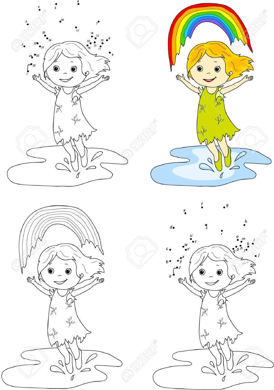 Coloriage Fille Arc En Ciel.Fille Dansant Avec Arc En Ciel Vector Illustration Coloriage Et Point A Point Jeu Educatif Pour Les Enfants