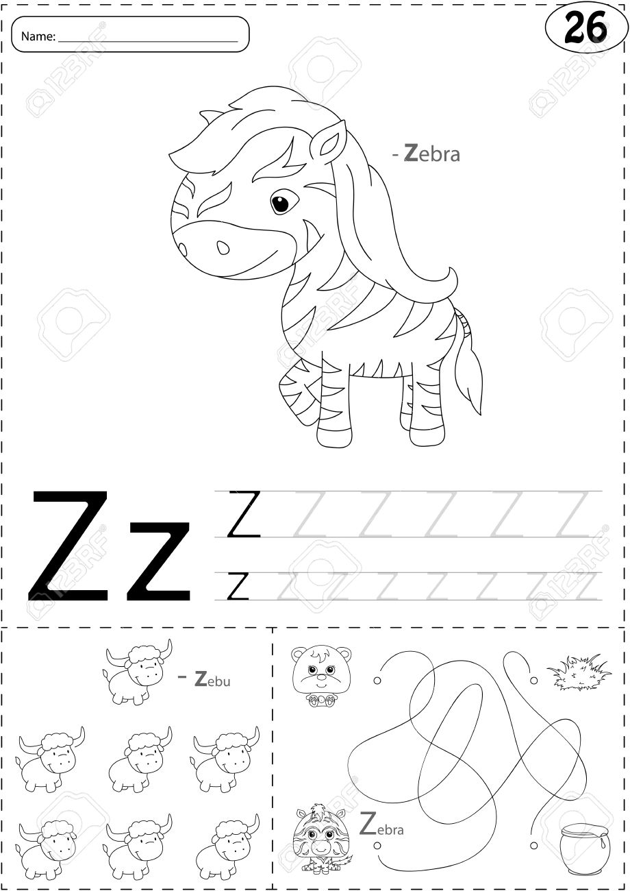 Cartoon Zebra And Zebu Alphabet Tracing Worksheet Writing A Z Coloring Book Educational