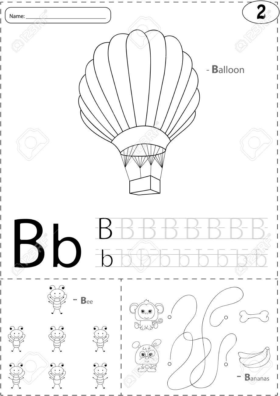 Cartoon Ballon, Biene Und Bananen. Alphabet-Tracing-Arbeitsblatt ...