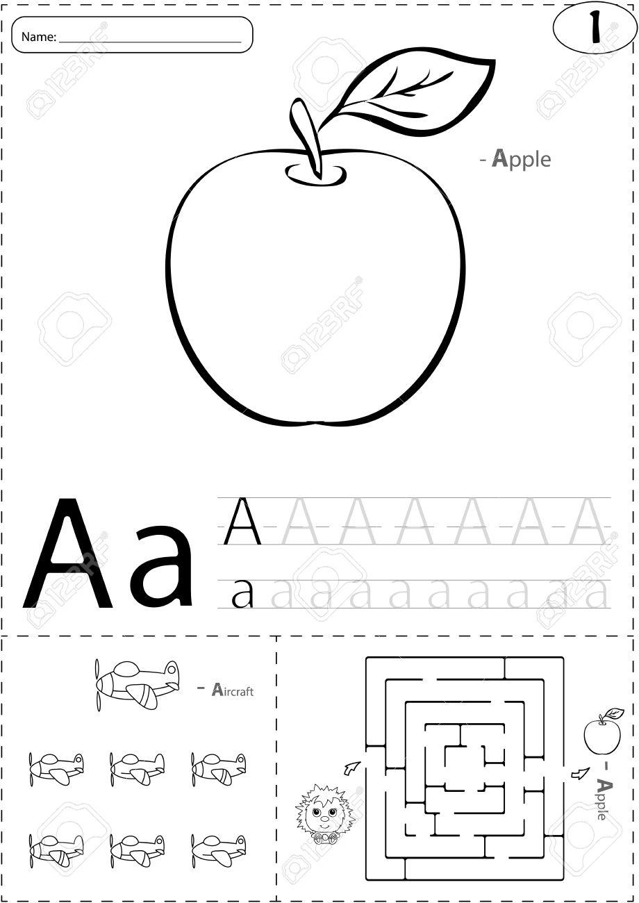 cartoon apple and aircraft alphabet tracing worksheet writing