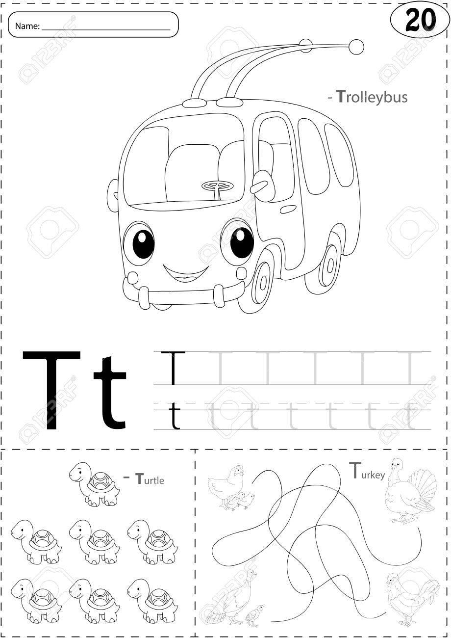 Cartoon Trolleybus, Turtle And Turkey. Alphabet Tracing Worksheet ...