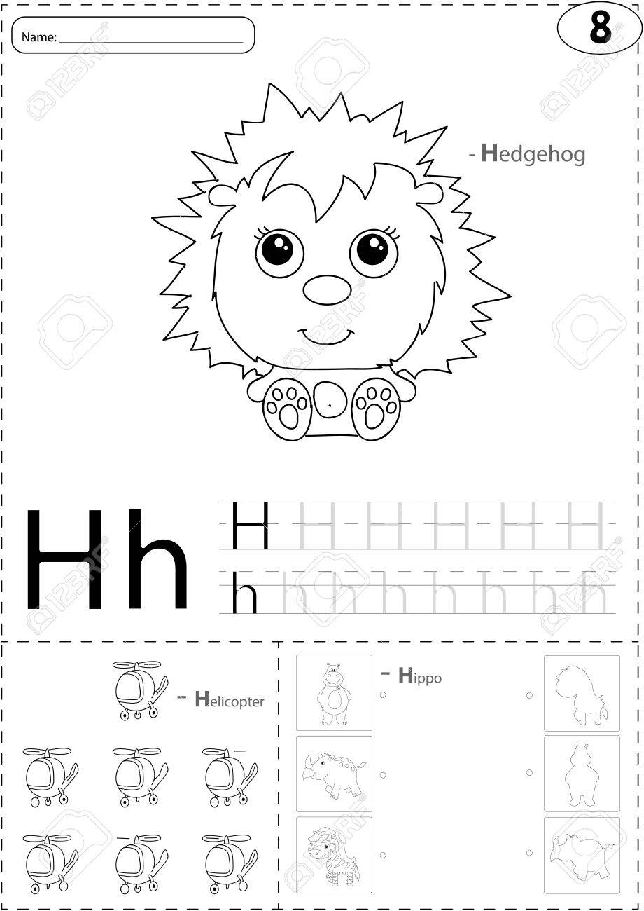 Cartoon Hedgehog, Helicopter And Hippo. Alphabet Tracing Worksheet ...