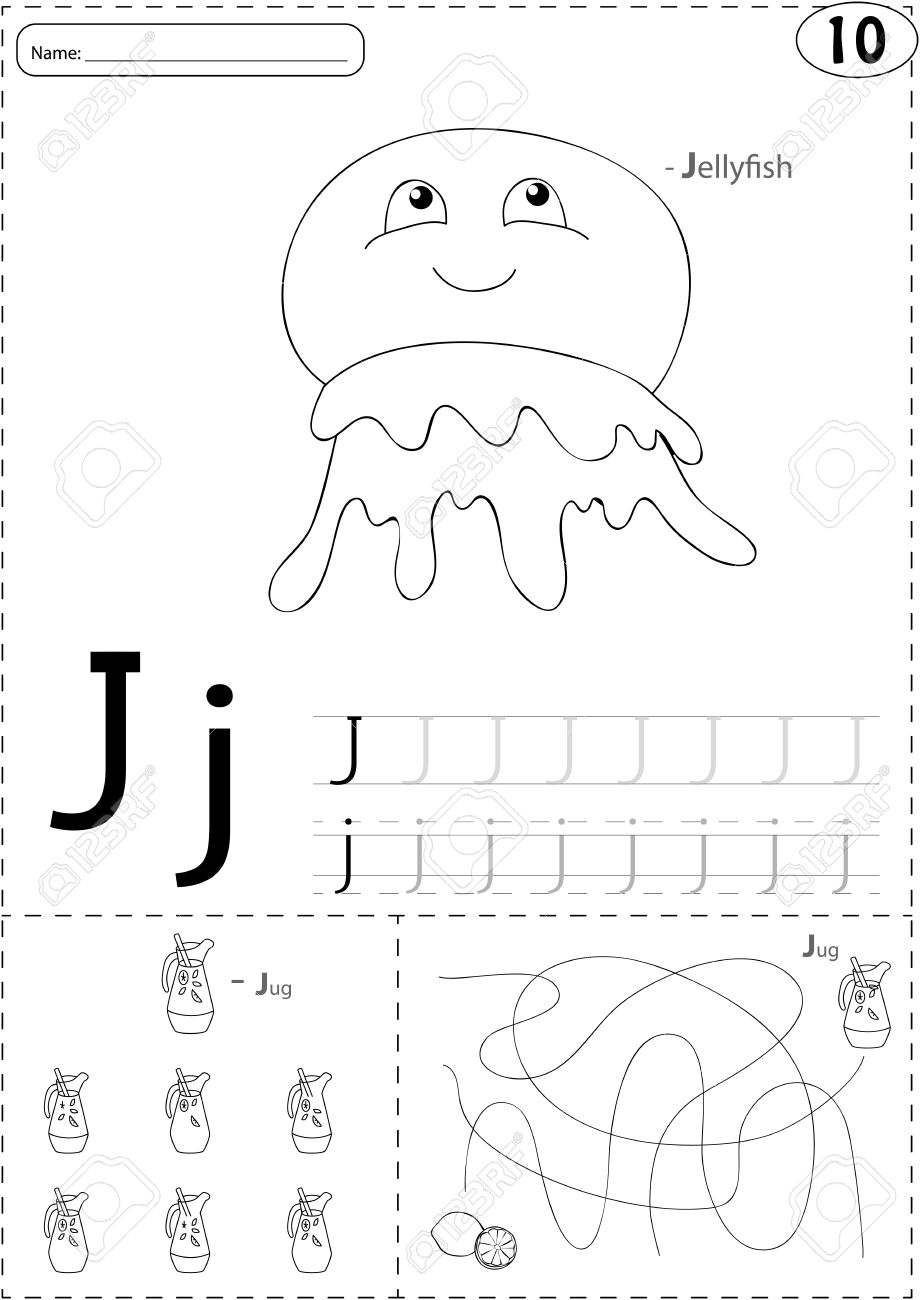 Cartoon Jellyfish And Jug Of Lemonade. Alphabet Tracing Worksheet ...