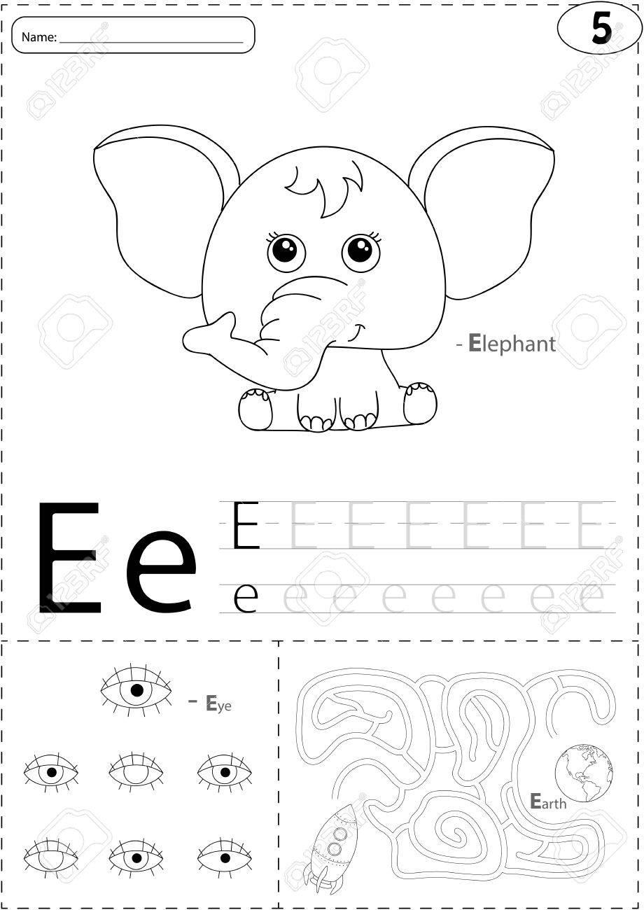 Cartoon Elefant, Auge Und Erde. Alphabet-Tracing-Arbeitsblatt ...
