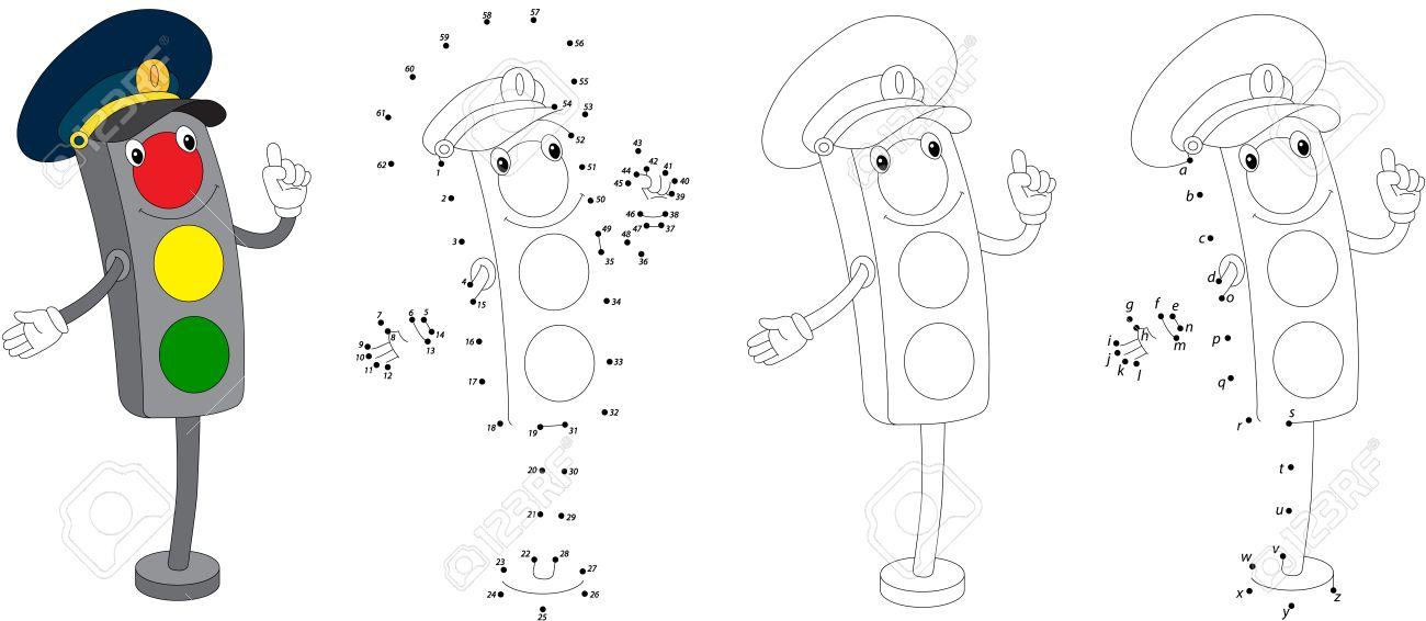 Semáforo De Dibujos Animados. Ilustración Del Vector. Colorear Y ...