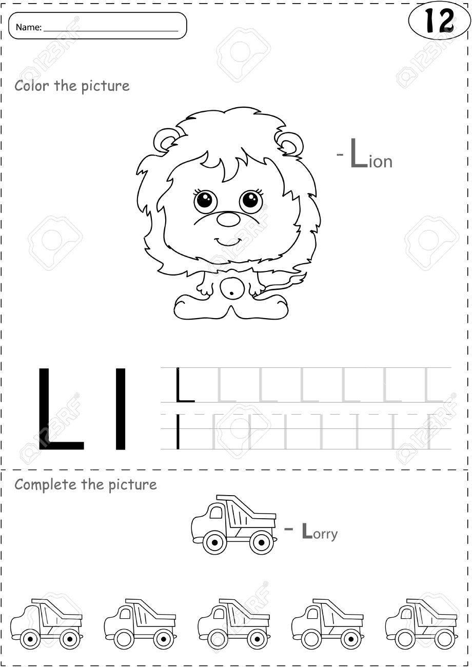 Camión De Dibujos Animados Y León. Alfabeto Del Trazado Hoja De ...