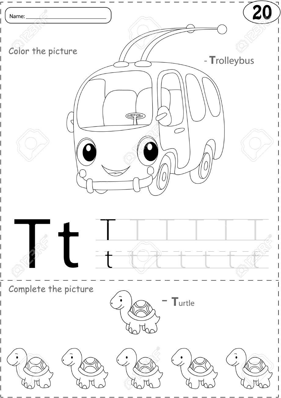 Cartoon Trolleybus Und Schildkröte. Alphabet-Tracing-Arbeitsblatt ...
