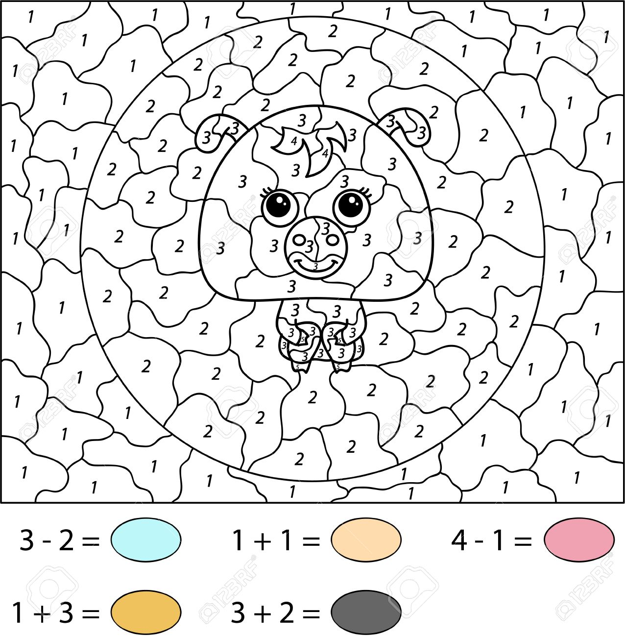 funny cartoon pig color by number educational game for