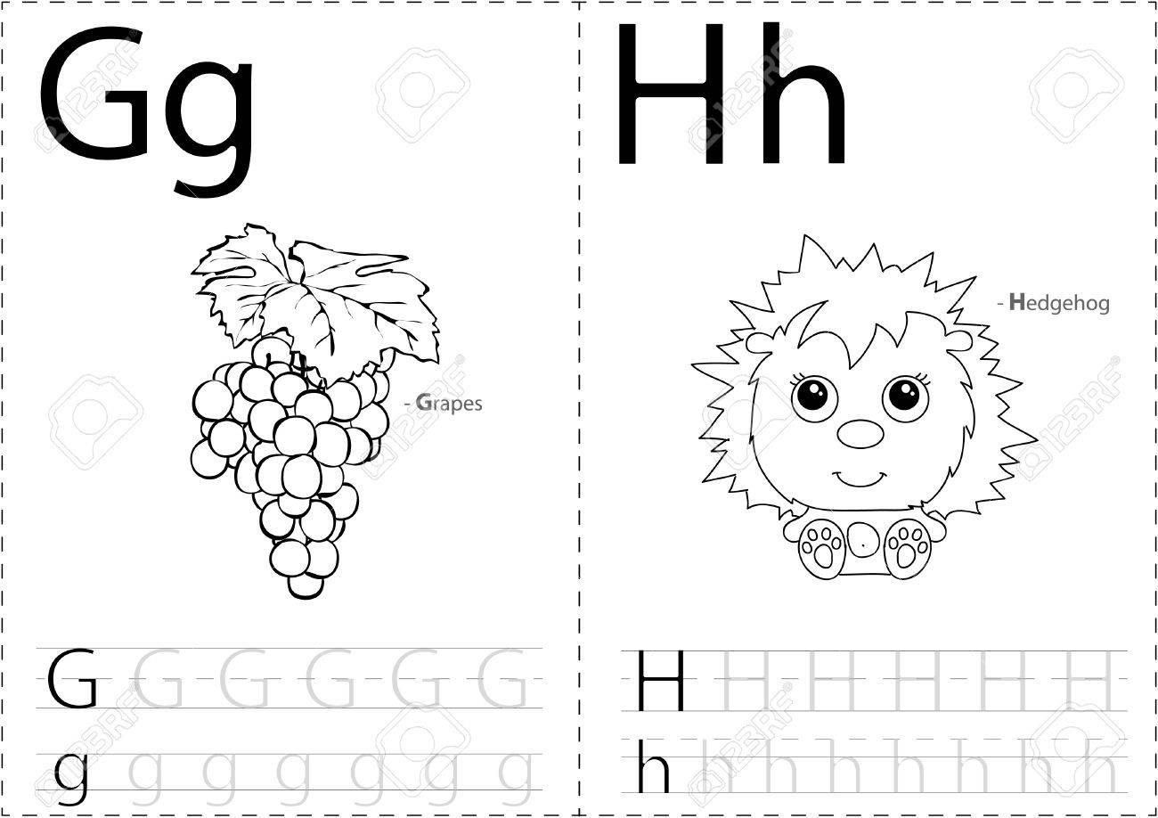 Cartoon Trauben Und Igel. Alphabet-Tracing-Arbeitsblatt: Schreiben ...