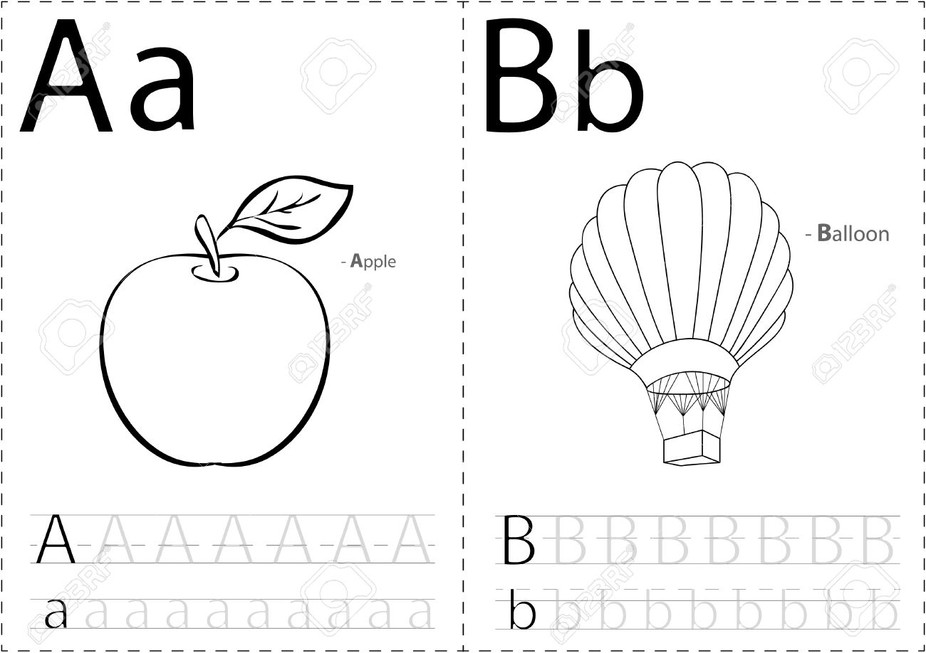 worksheet Tracing And Colouring Worksheets cartoon apple and balloon alphabet tracing worksheet writing a z coloring book educational