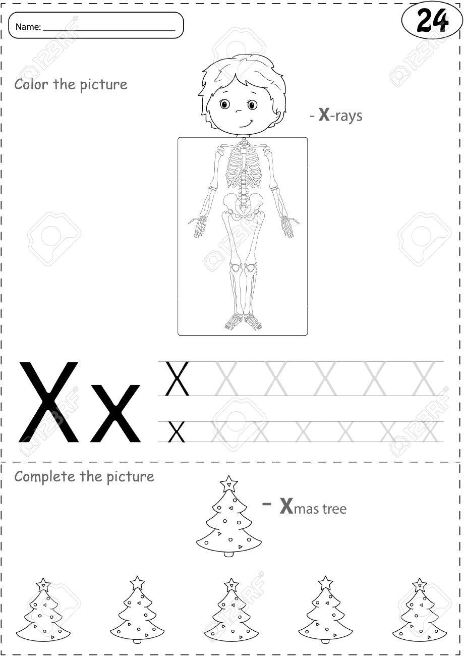Cartoon X-rays Sceleton And Xmas Tree. Alphabet Tracing Worksheet ...