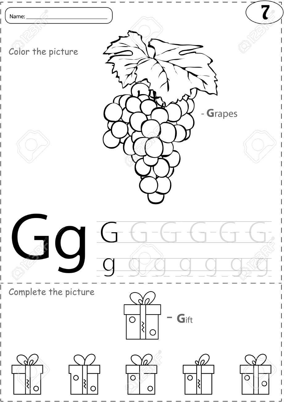Cartoon Grapes And Gift. Alphabet Tracing Worksheet: Writing ...