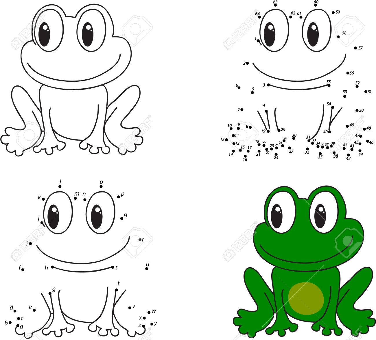 Cartoon Frog. Coloring Book And Dot To Dot Educational Game For ...